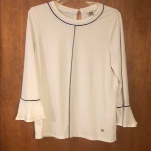 White Ann Klein blouse with bell sleeves